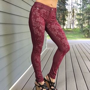 New Red w white pattern on front only jeggings